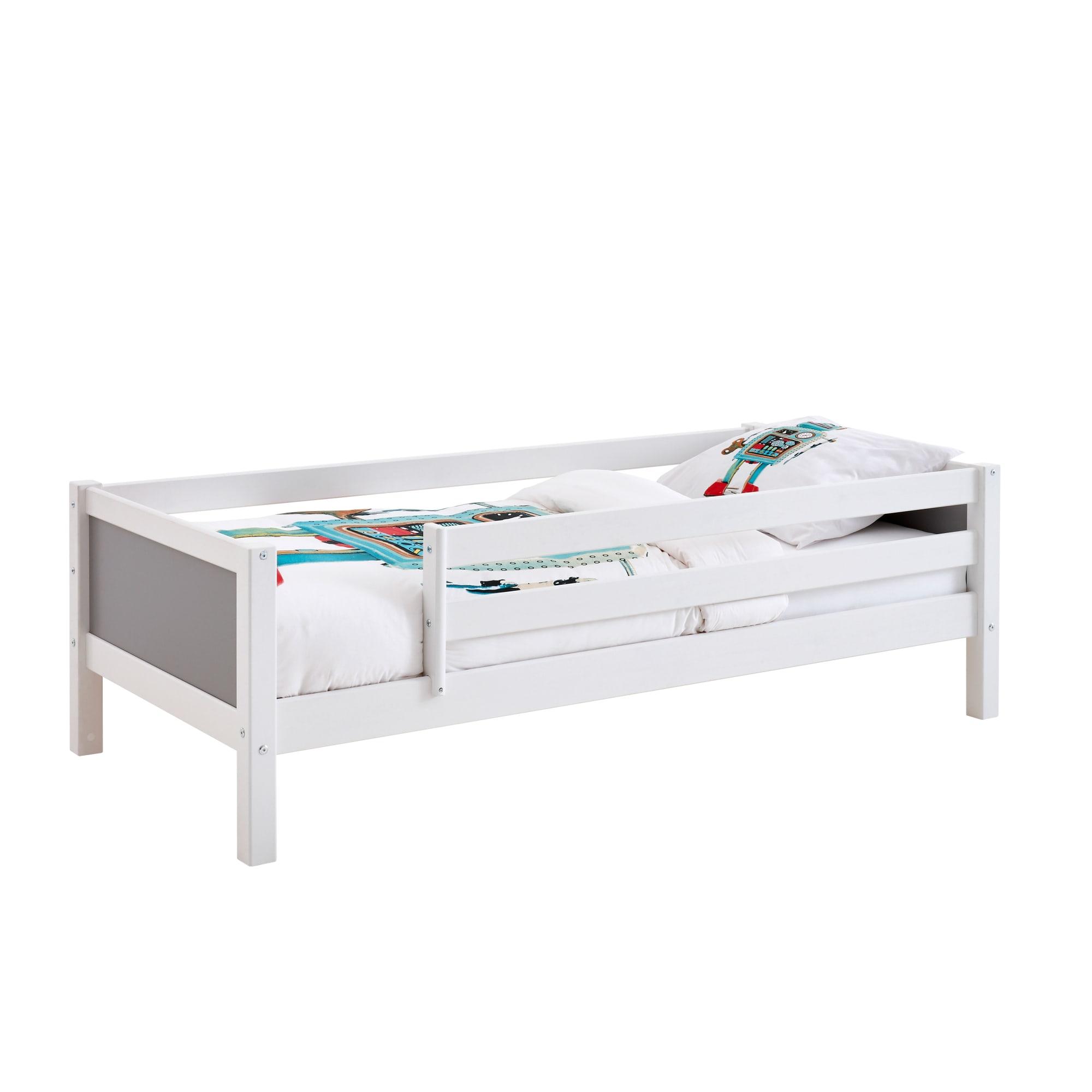 90 x 200 cm - Med sengehest på begge sider og grå gavle