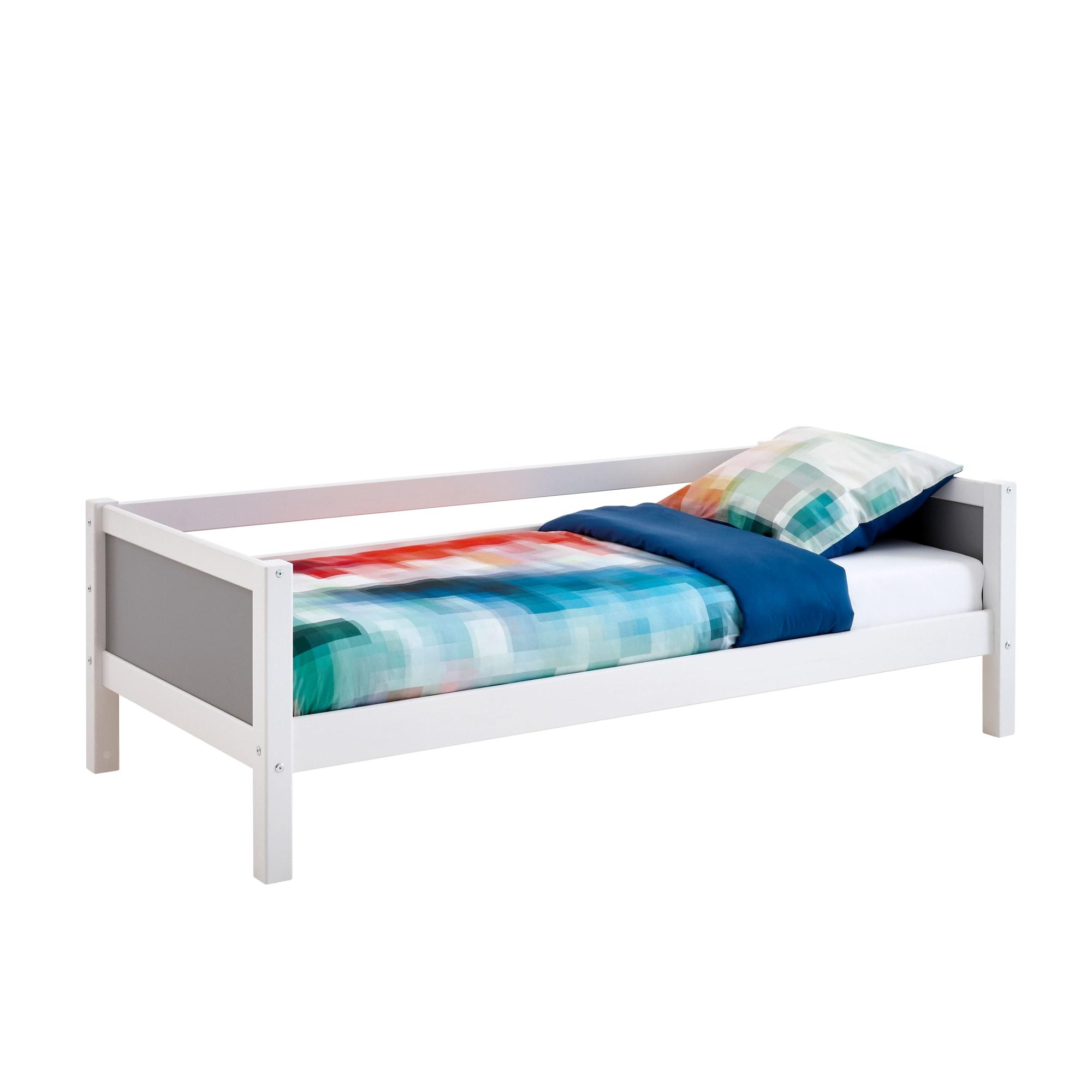 90 x 200 cm - Med sengehest til den ene side og grå gavle