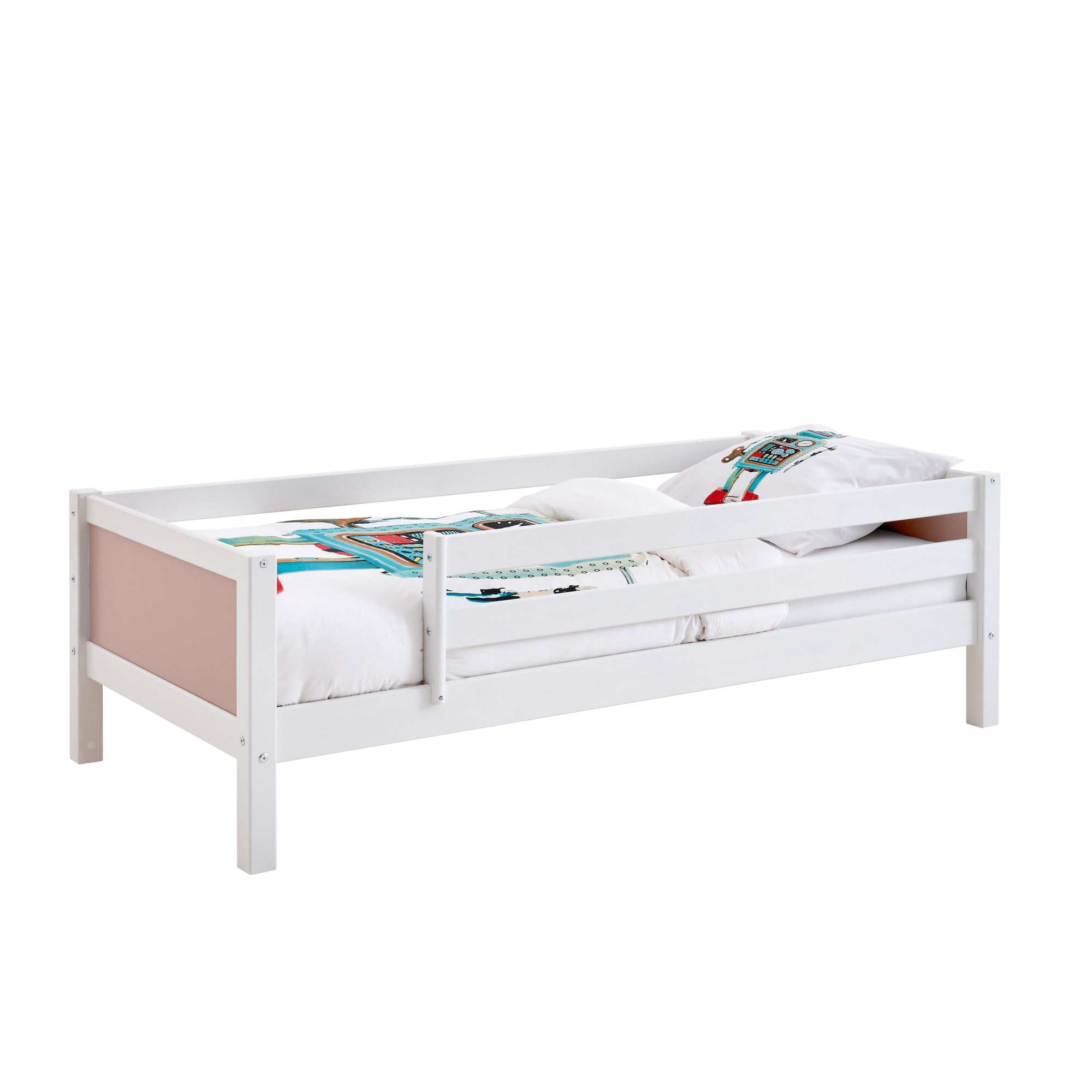 90 x 200 cm - Med sengehest på begge sider og rosafarvede gavle