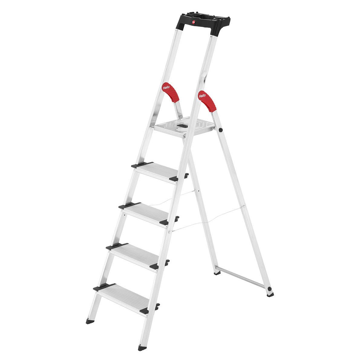 Foldbar stige med 5 skridsikre trin - Bakke til værktøj m.m.