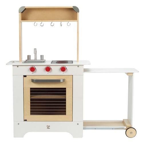 Fremstillet i træ - Med ovn, kogeplade, vask og udtrækkeligt sidebord