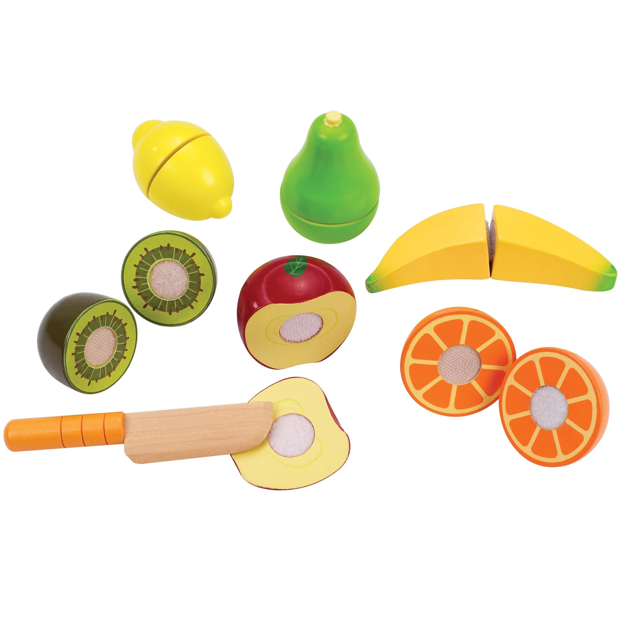 Med kniv og 6 stykker frugt i træ med velcro