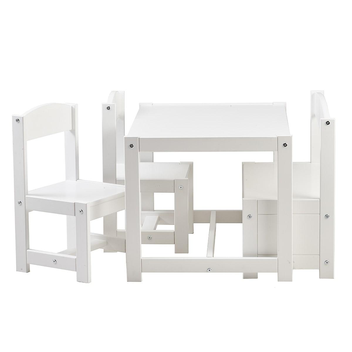 Møbelsæt til børneværelset med bord, 2 stole og bænk med opbevaring