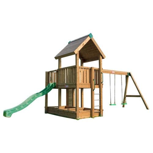 Legetårn med gyngestativ, rutsjebane, sandkasse og klatrevæg