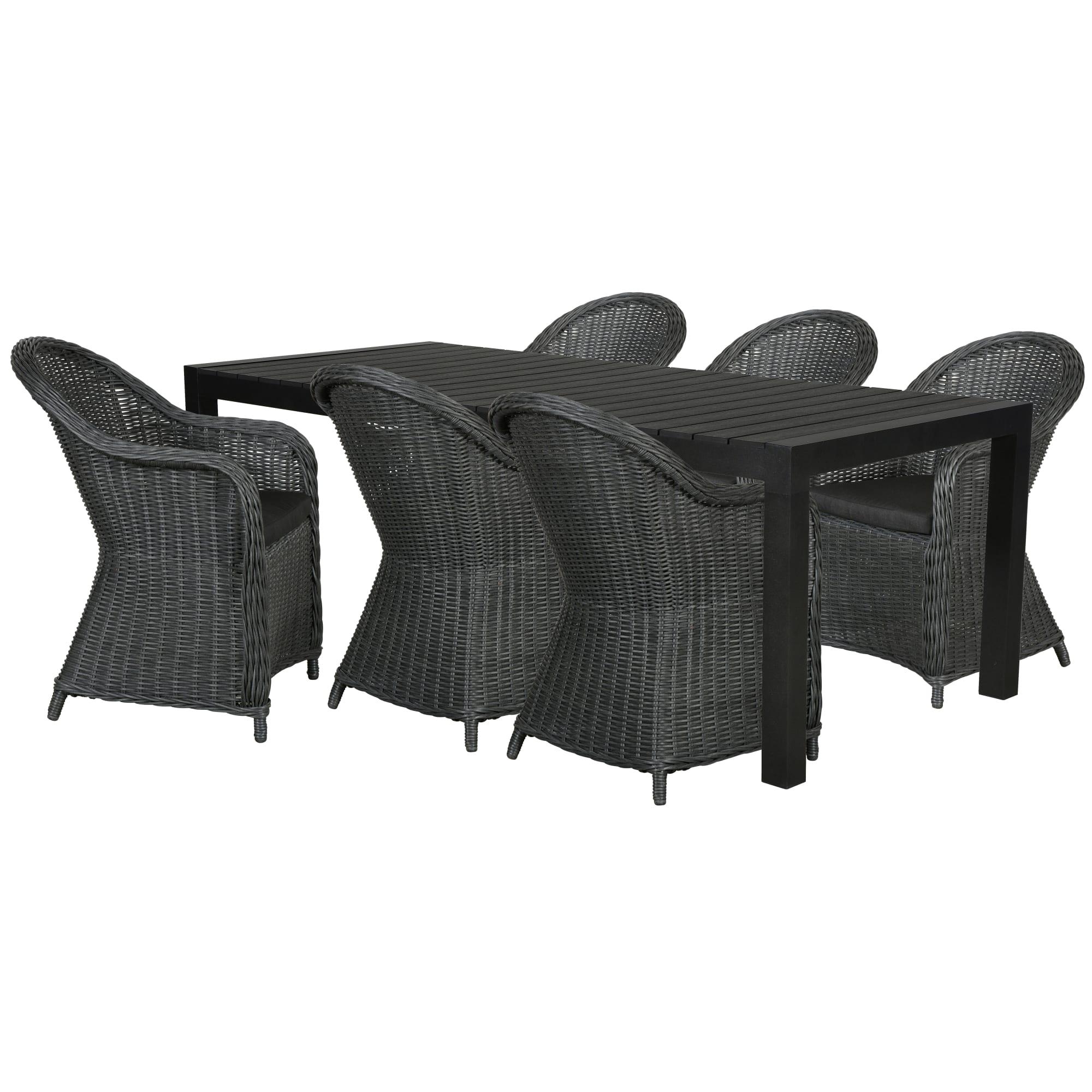 Udtræksbord (L 205-275 cm) og kåbestole inkl. hynder