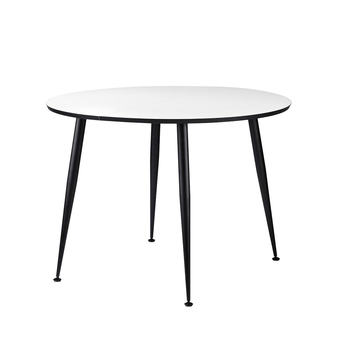 Ø 100 cm - Rundt bord med plads til en tillægsplade