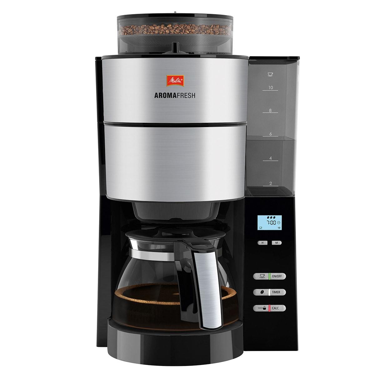 Med kaffekværn, justerbar styrke, timer og afkalkningsprogram
