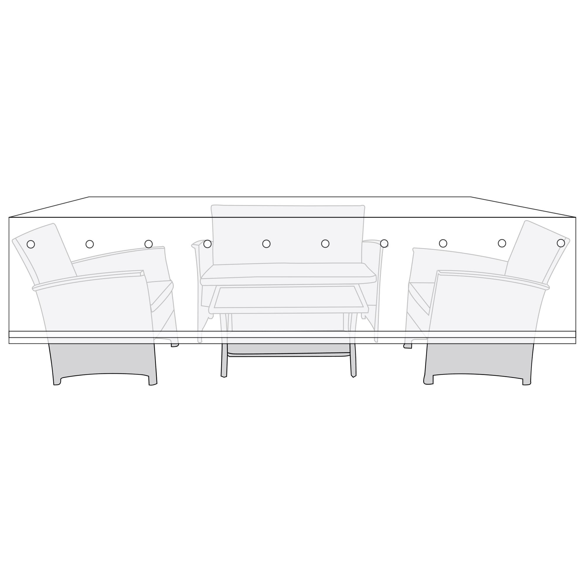 H 77 x B 145 x D 190 cm - Polyester