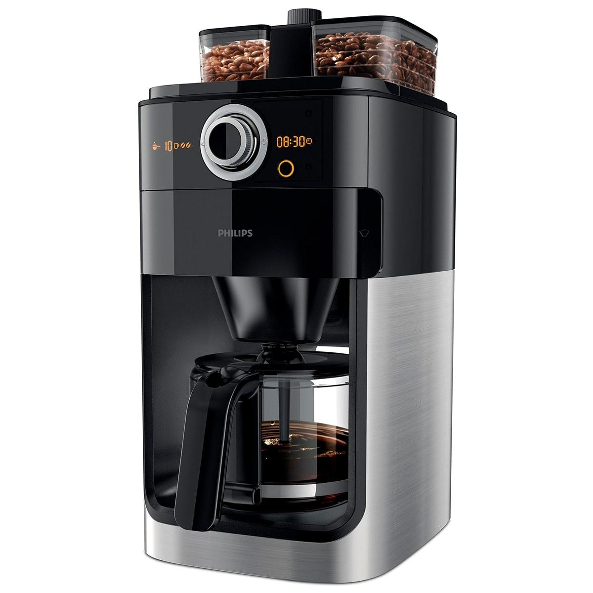 Med integreret kaffekværn og todelt beholder til kaffebønner