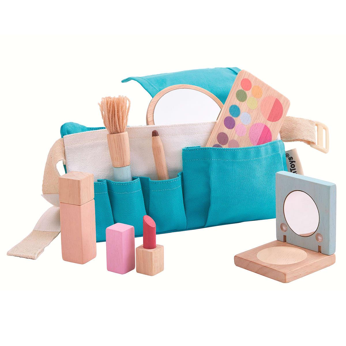 Bæltetaske med spejl, børste og makeup