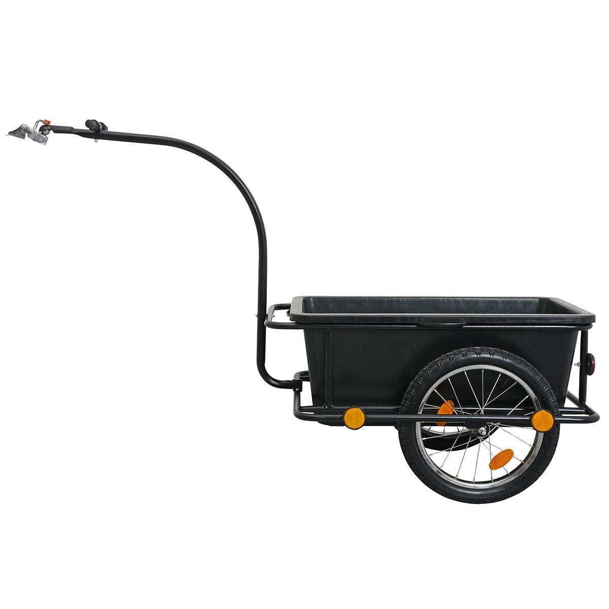Cykeltrailer med solid og aftagelig plastkasse