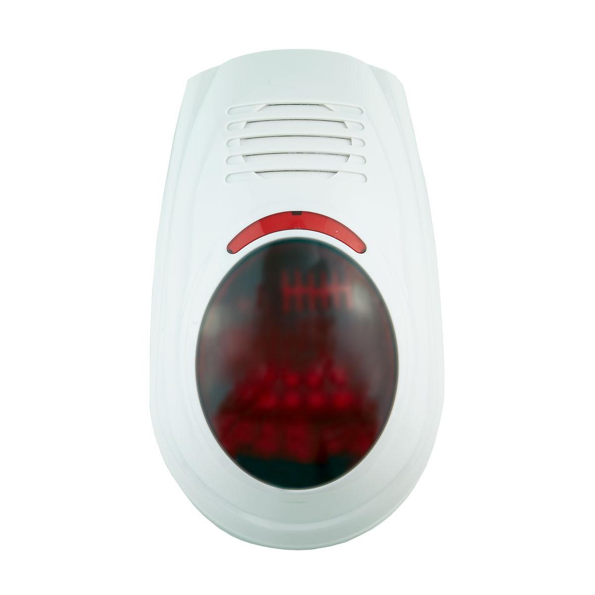 110 dB - Ved alarm afgiver sirenen en kraftig hylen og røde blink