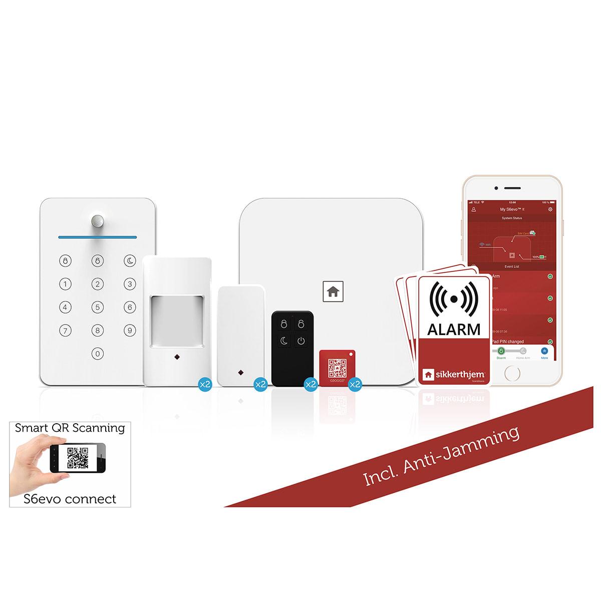 Villapakken - Inkl. alarm, sensorer, nøglebrikker, fjernbetjening m.m.