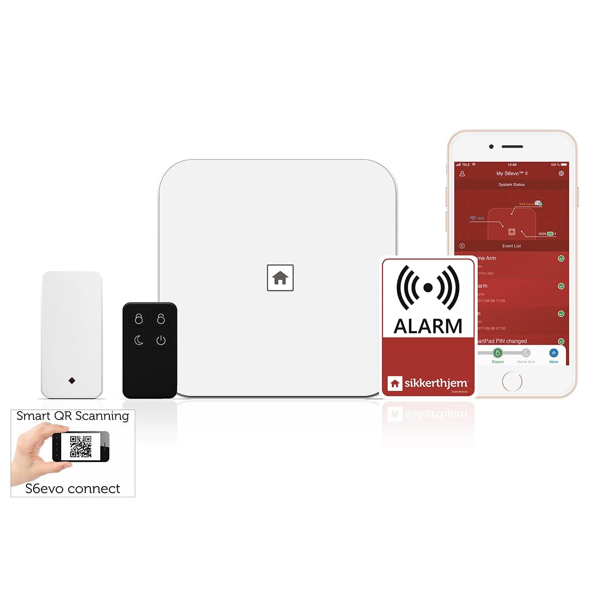 Startpakken - Inkl. alarm, åbningskontakt, fjernbetjening, mærkat m.m.