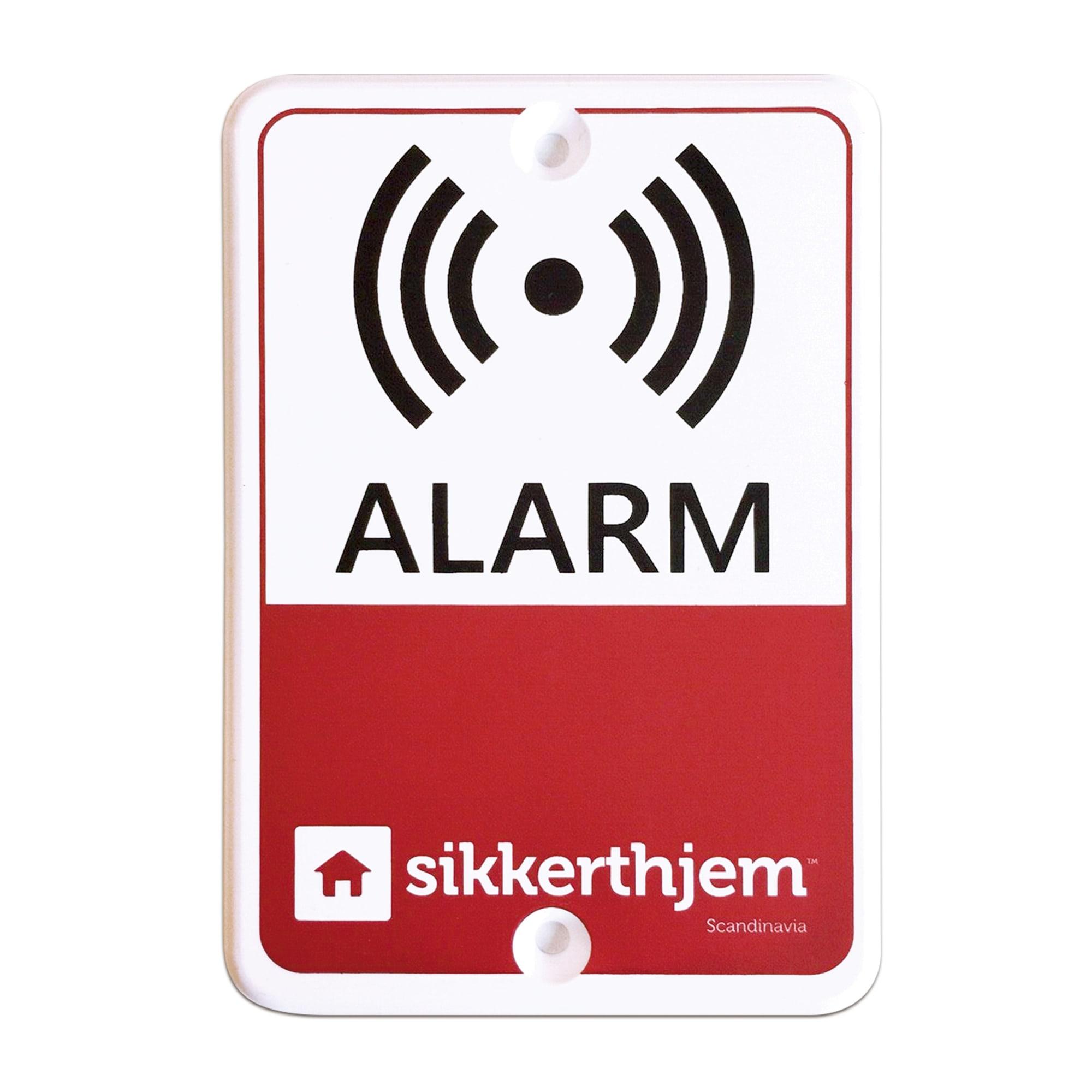 Udendørs alarmskilt i PVC til ophæng på træværk