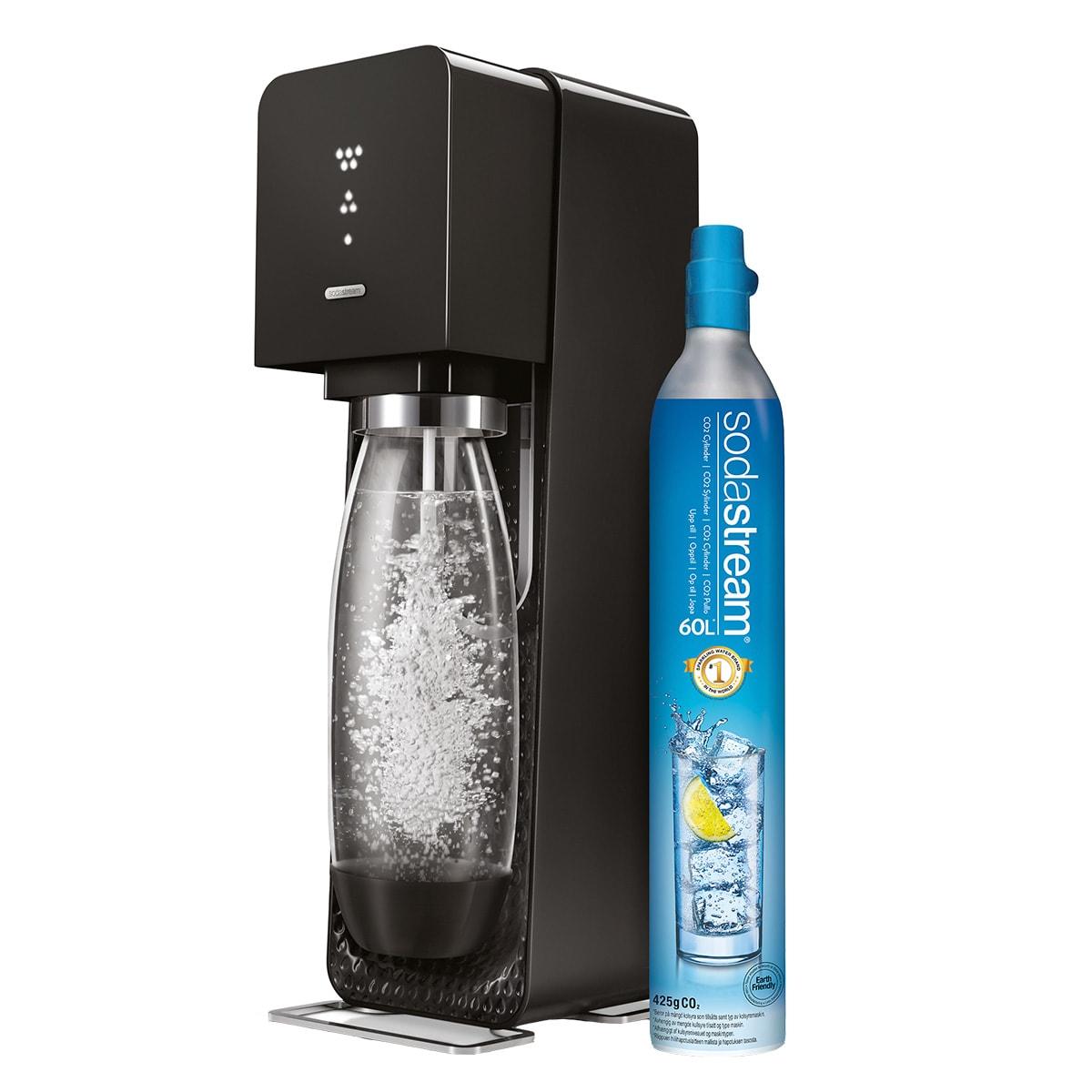 Sodastream maskine med LED-display, der viser kulsyreniveauet