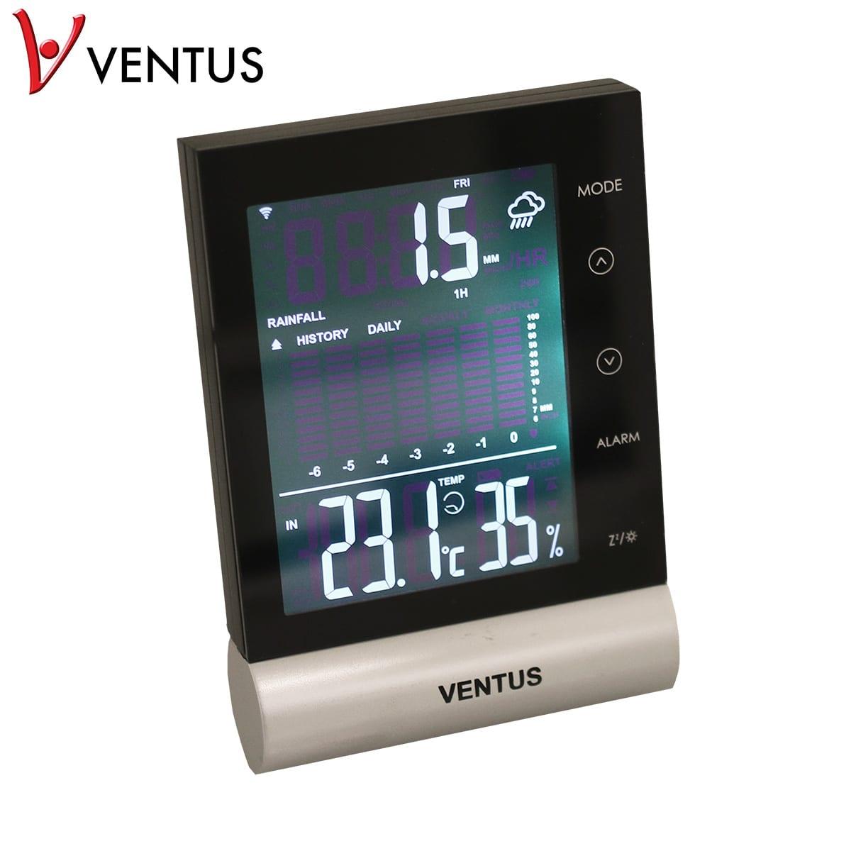 Viser nedbøren, temperaturen, klokken og datoen