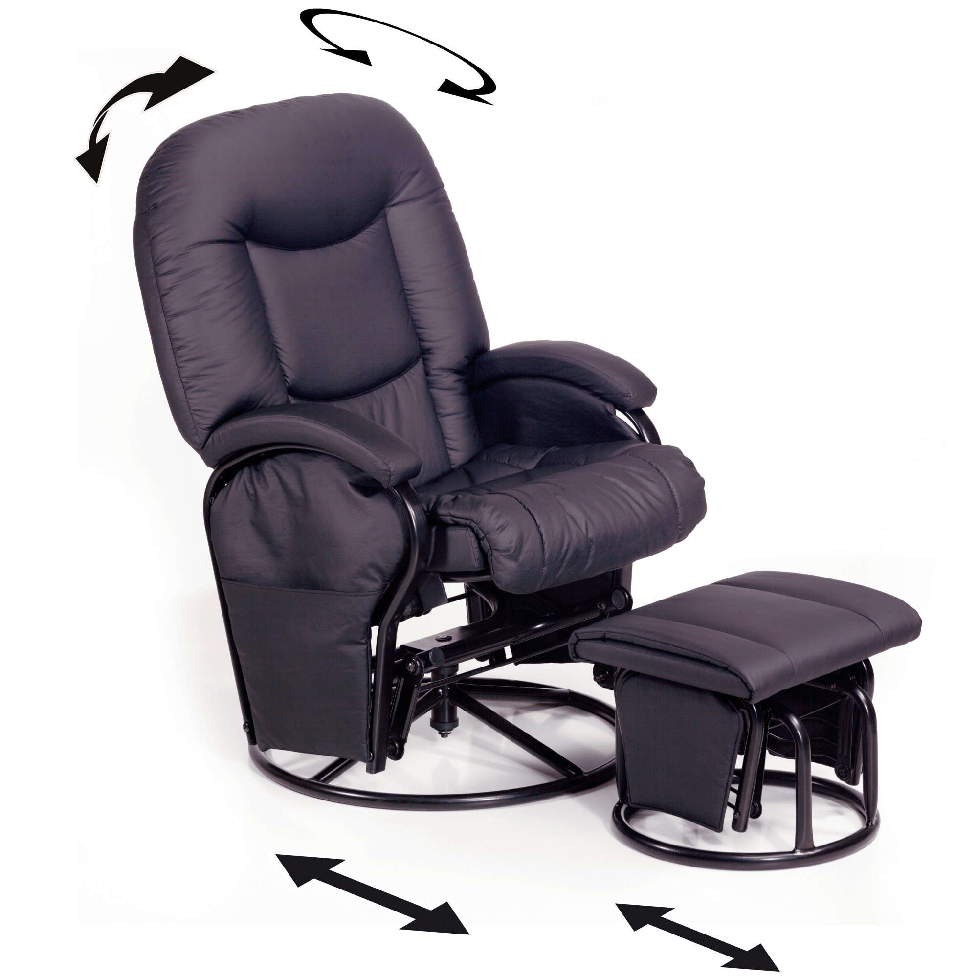 Inkl skammel - Komfortabel lænestol med justerbar ryg og 360° rotation