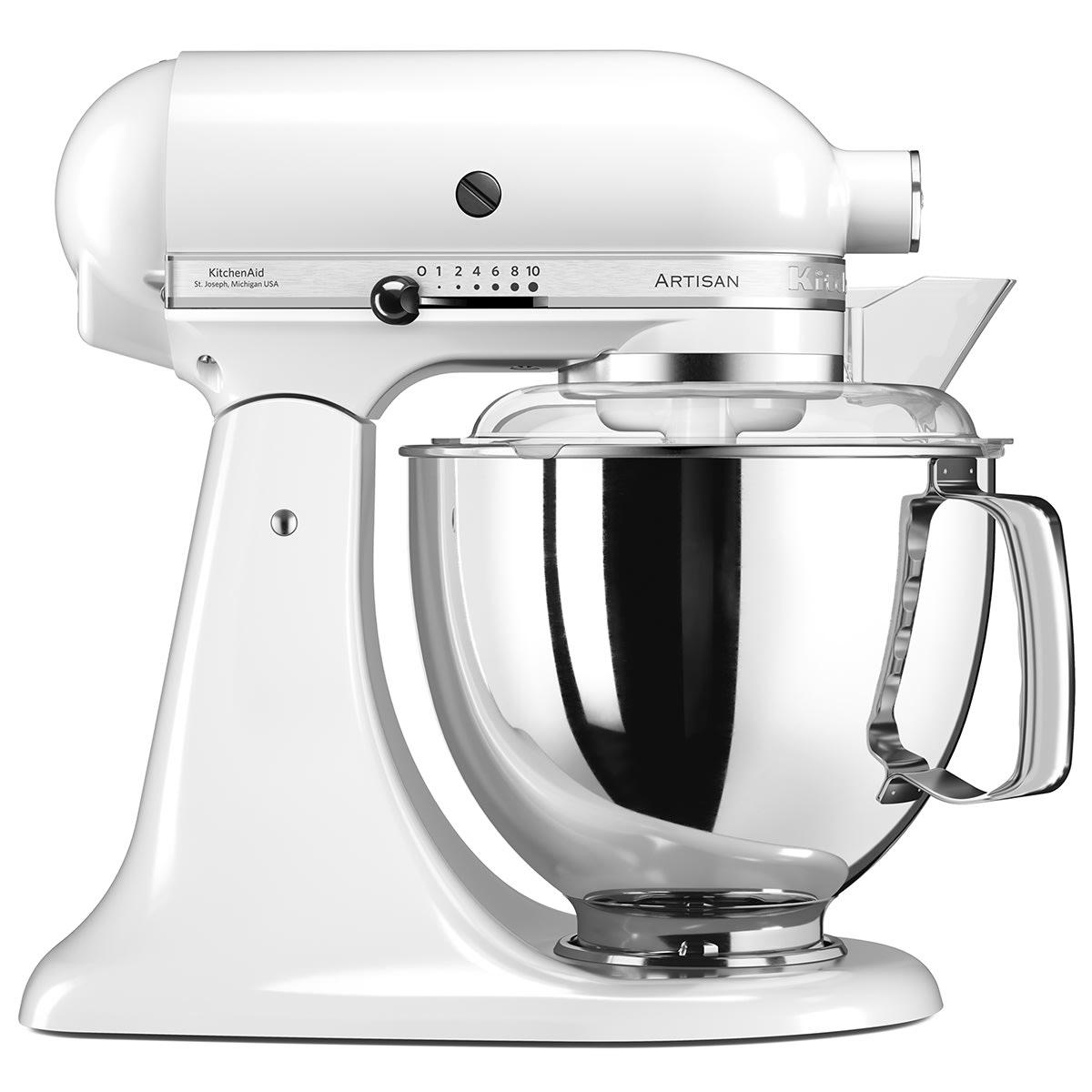 Ikonisk køkkenmaskine med 4,8-liters røreskål, plastskærm m.m.