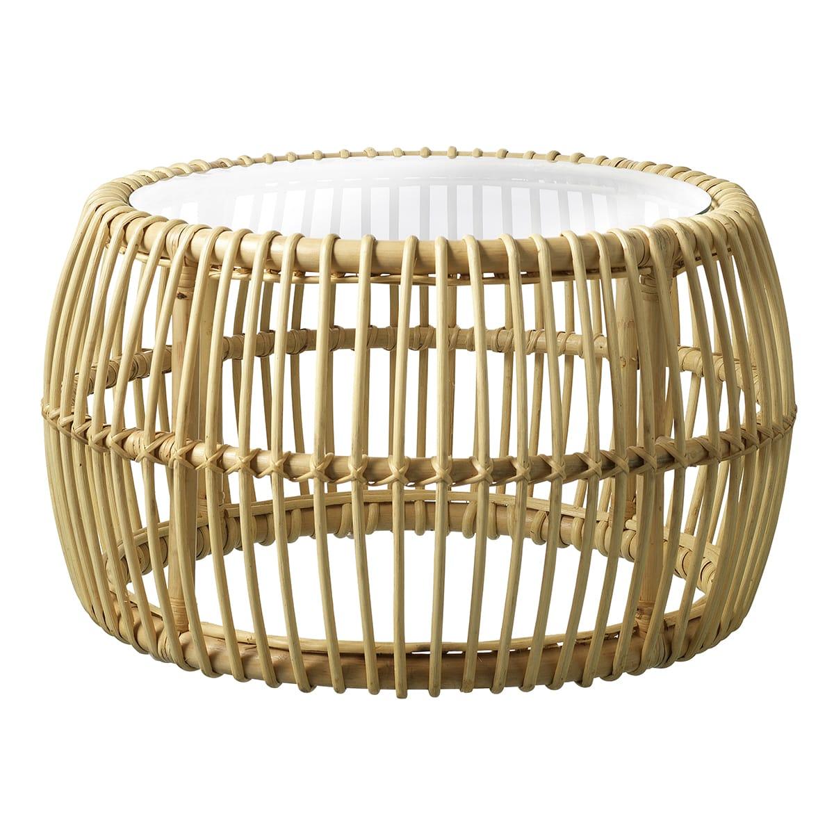 Ø 69 cm - Lavet i dekorativt rattan med glasplade