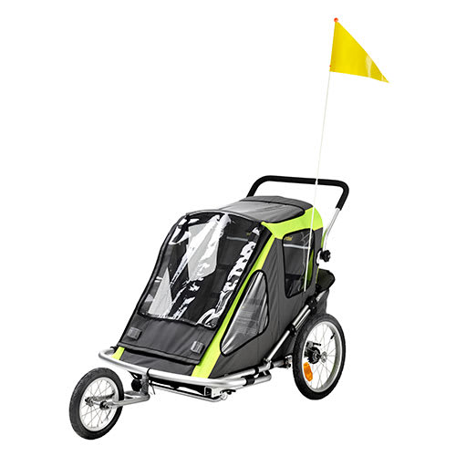 Cykeltrailer / klapvogn i stål til 2 børn - Med opbevaringsplads
