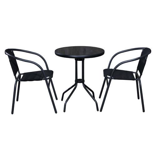 Bord i metal/glas og 2 stole i metal/textilene