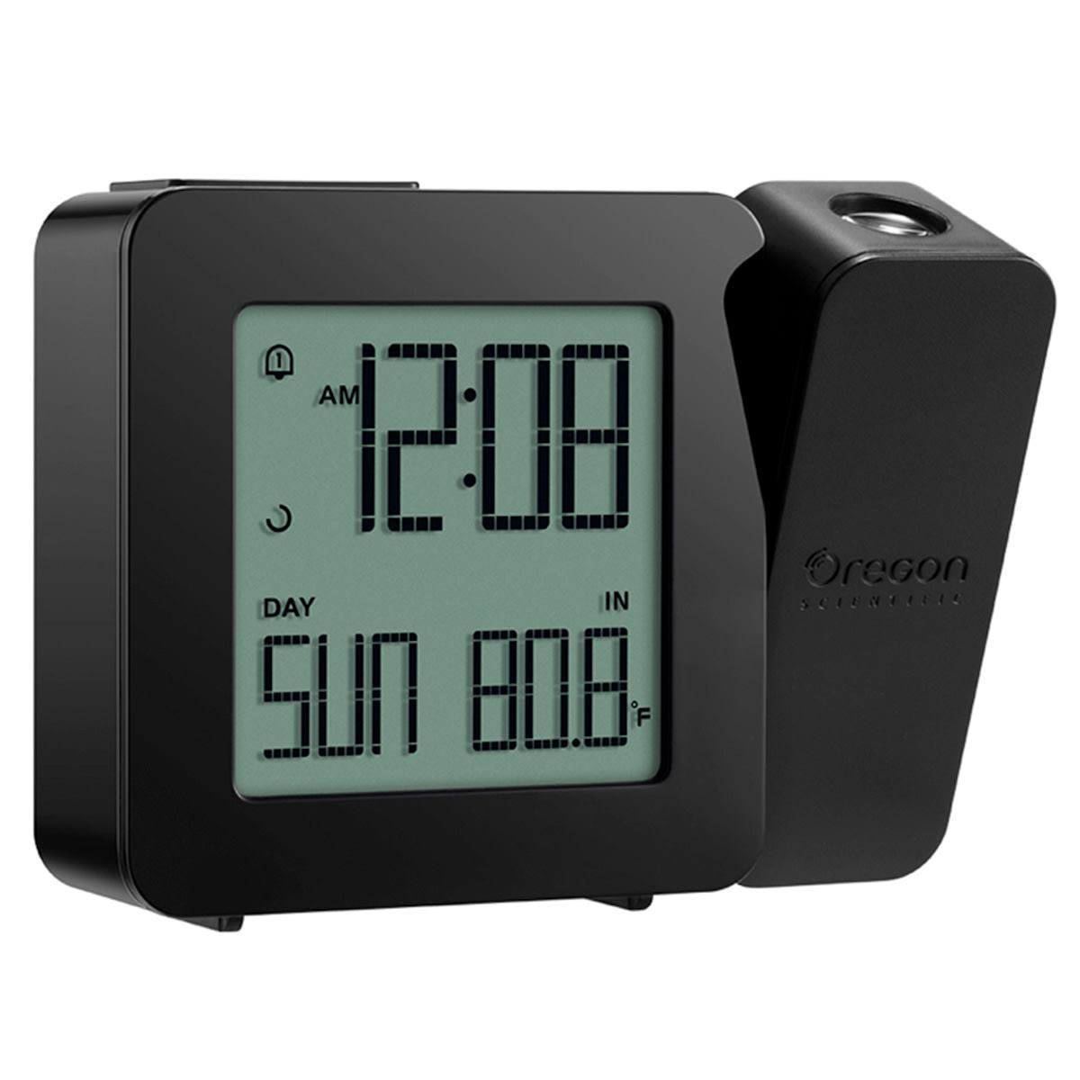 Med projektor, dag, temperatur, snooze og stigende alarm