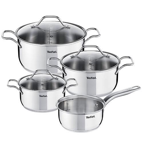 1 kasserolle, 3 gryder og 3 låg